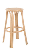 Rattan Lattice Backless Bar Stool, Natural