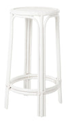 Rattan Lattice Backless Bar Stool, White