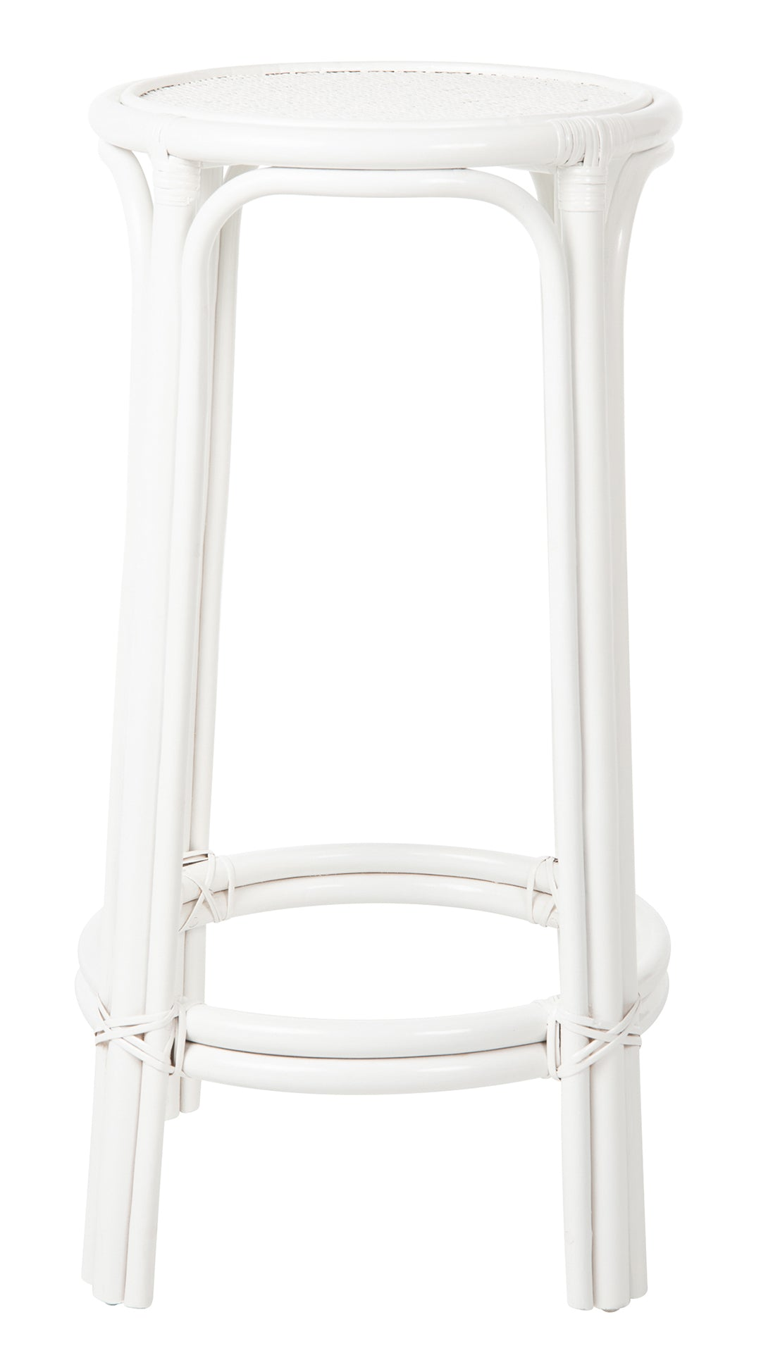 Rattan Lattice Backless Bar Stool White