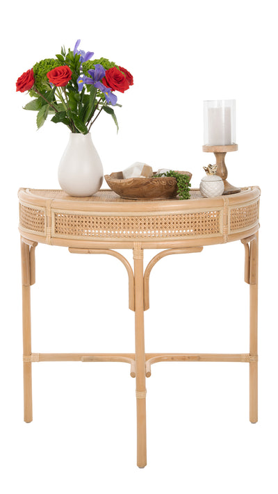 Rattan Cane Half-Moon Semi-Circular Console or End Table, Natural