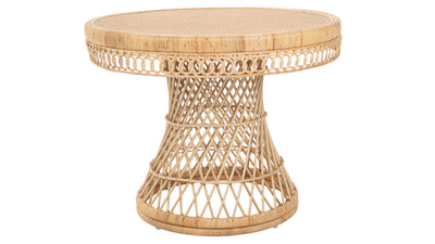 Round Rattan Peacock Dining Table, Natural