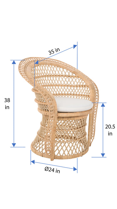 Peacock Rattan Dining Armchair or Lounge Chair, Natural
