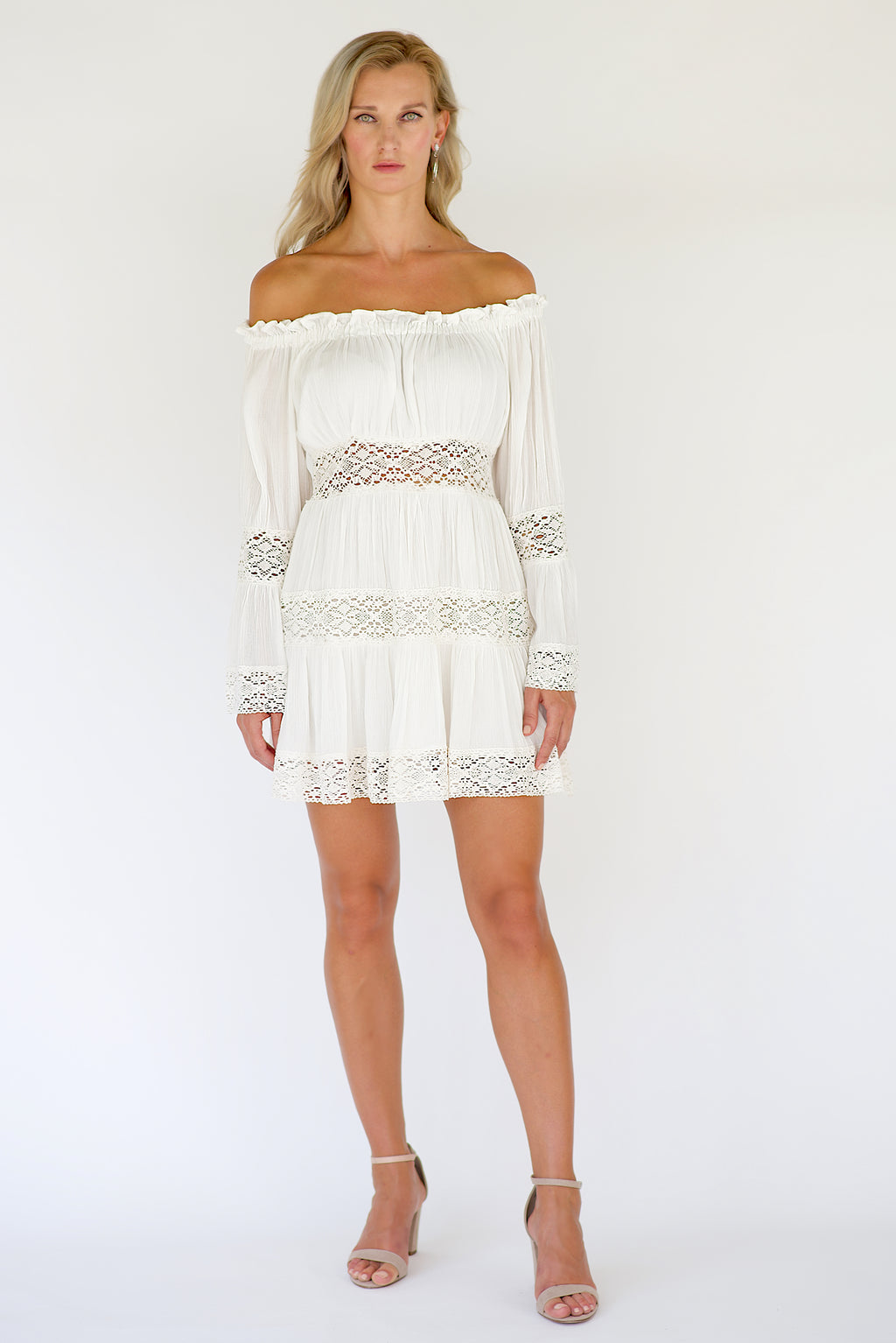 White off the shoulder mini dress