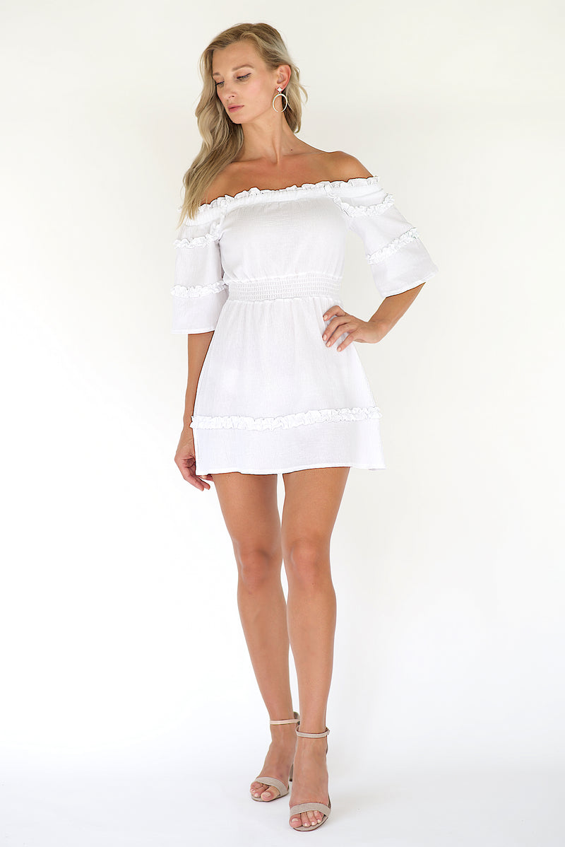 Annais Off The Shoulder Mini Dress - White