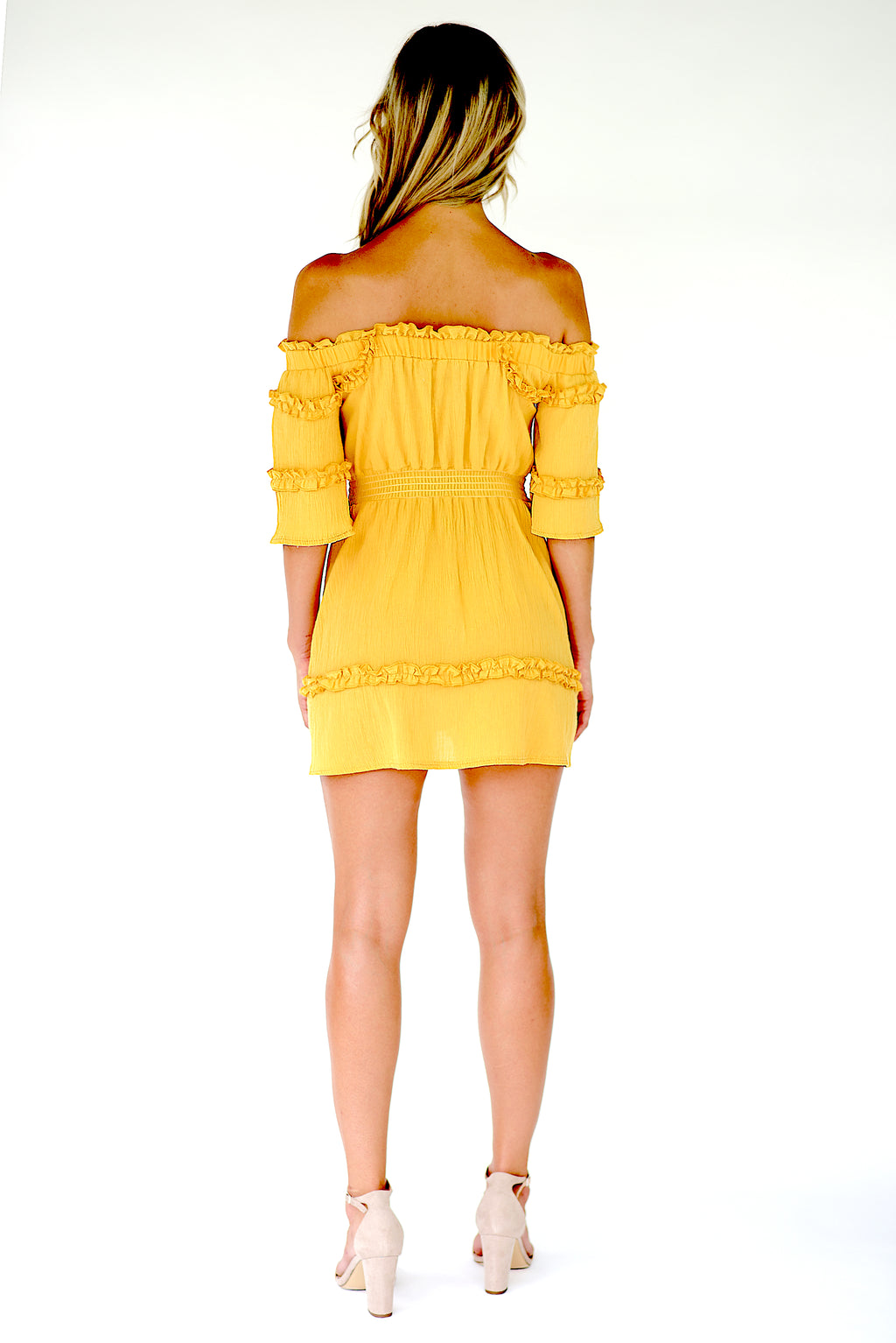 Annais Off The Shoulder Mini Dress - Yellow