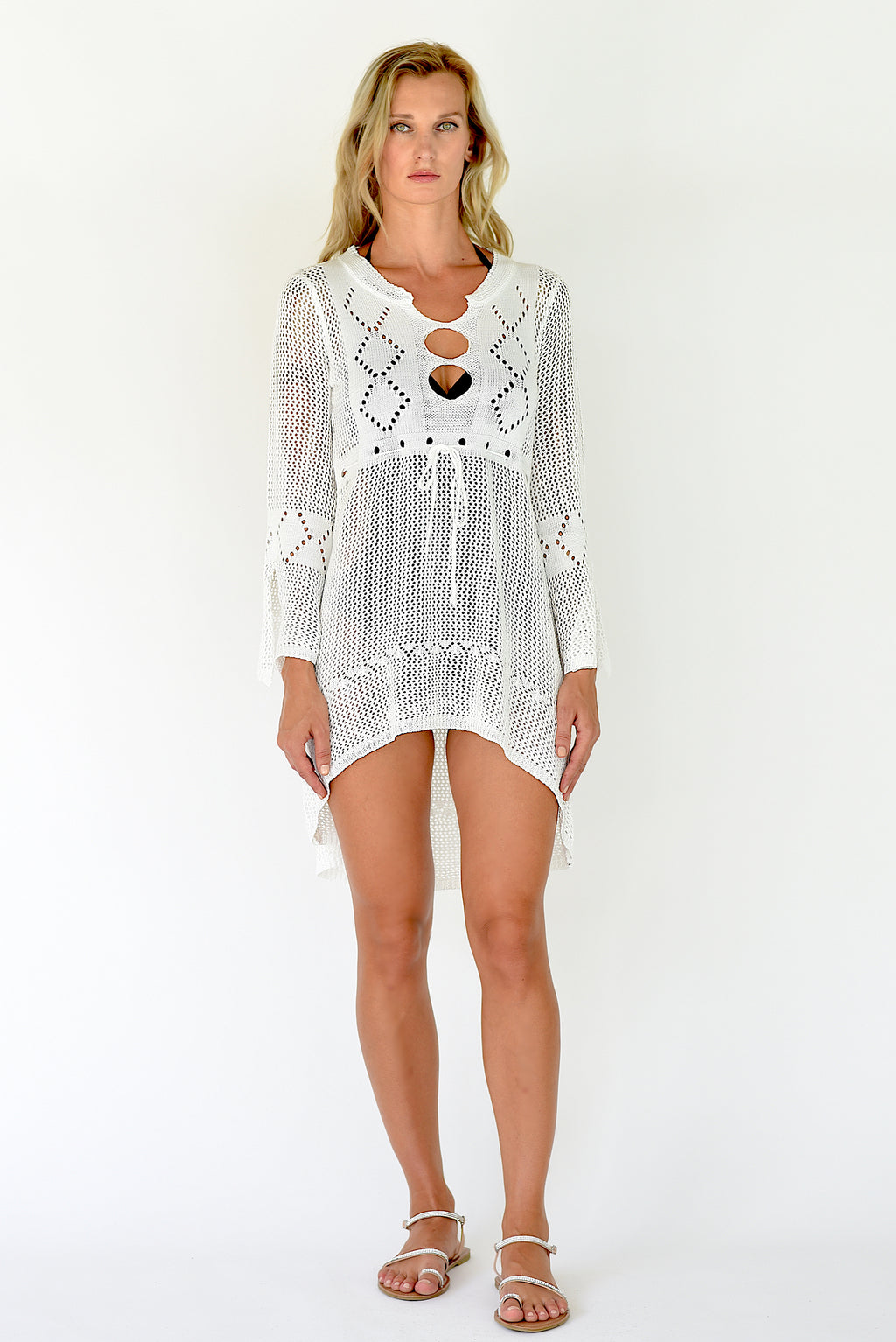Wild Dunes Crochet Cover Up Tunic - White