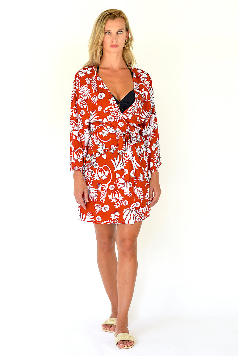 Hanalei Cover Up Tunic - Burnt Orange