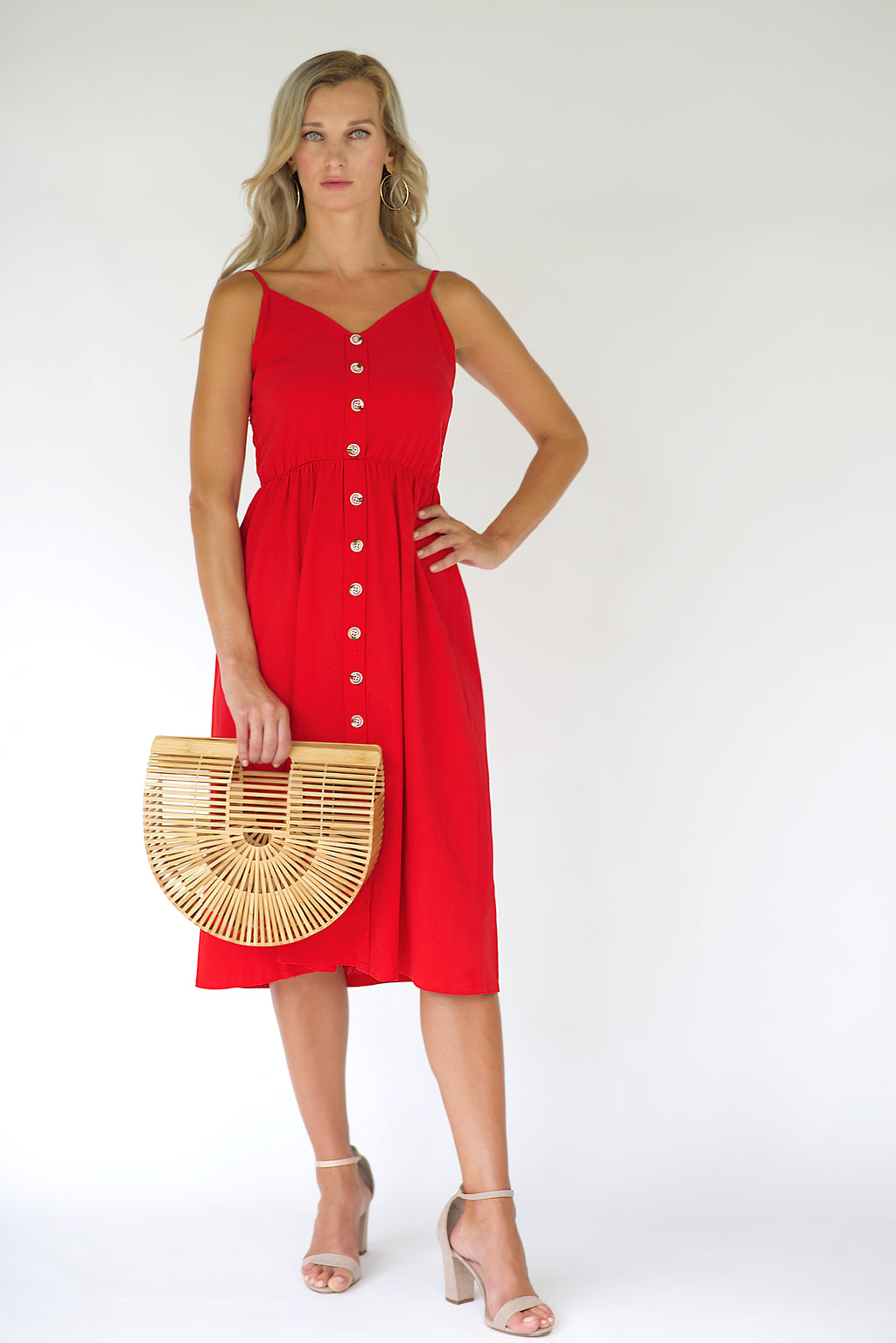 Penelope Midi Dress - Red