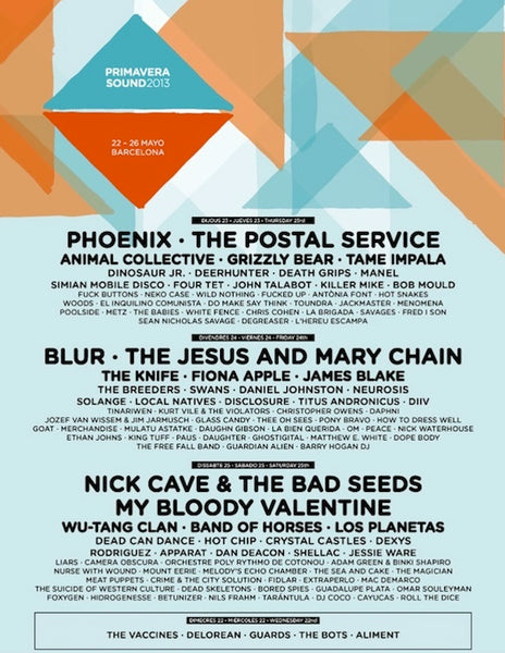 primavera sound 2013 line up
