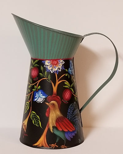 Tin Pitcher with Rooster and Flowers