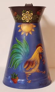 Tin Pitcher with Sun and Rooster