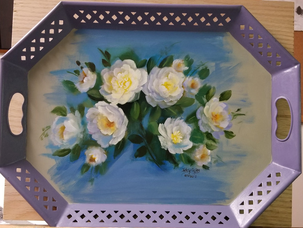 Metal Tray Decorated with White Roses