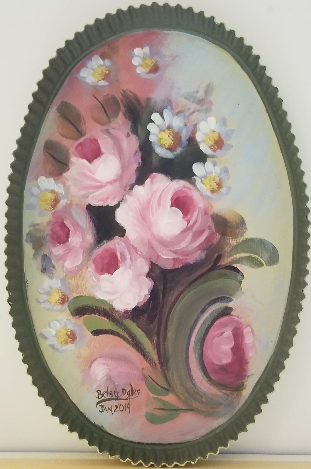 Tin Oval with Fluted Edge Painted with Pink Roses