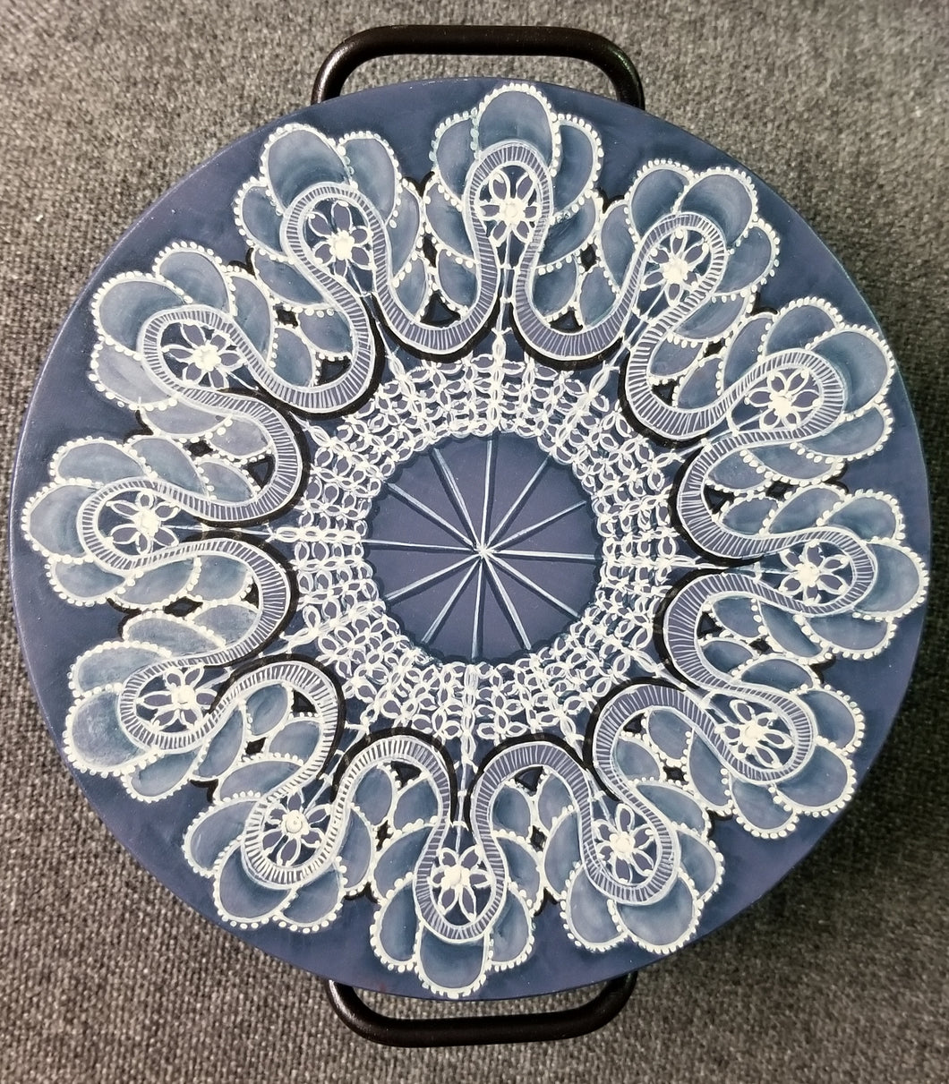 Metal Bowl with Wood Lid Painted in Lace Design