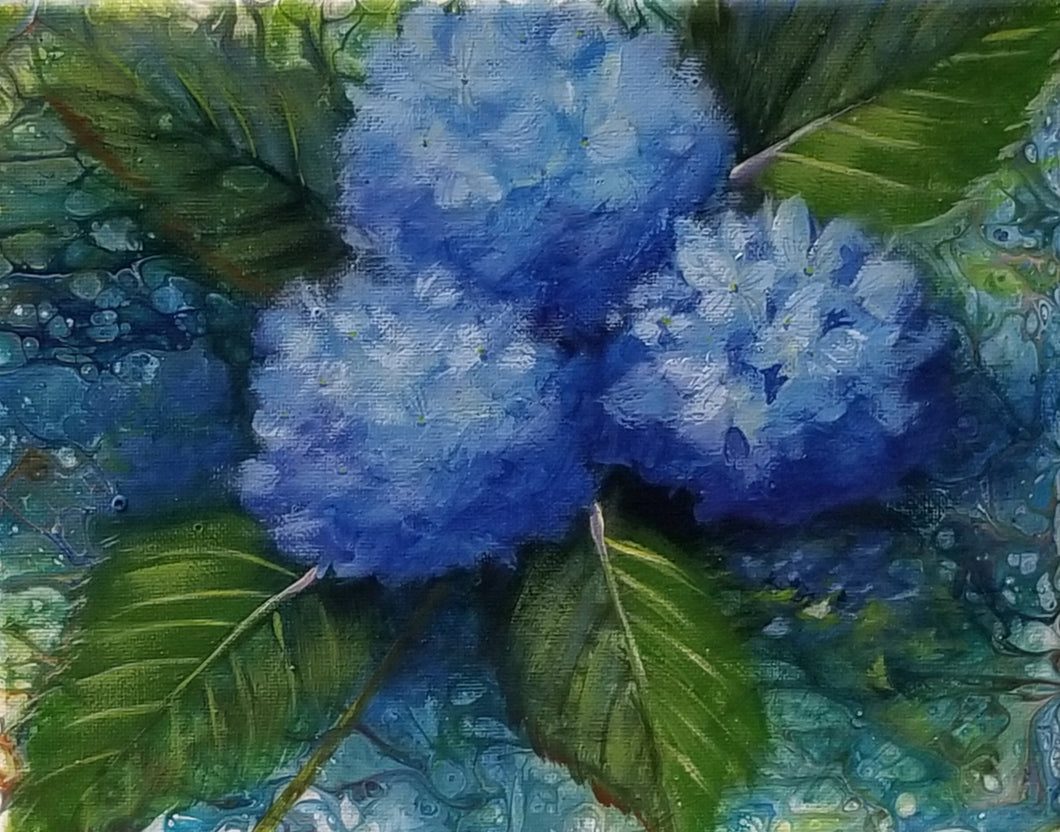 Poured Acrylic Background with Blue Hydrangea