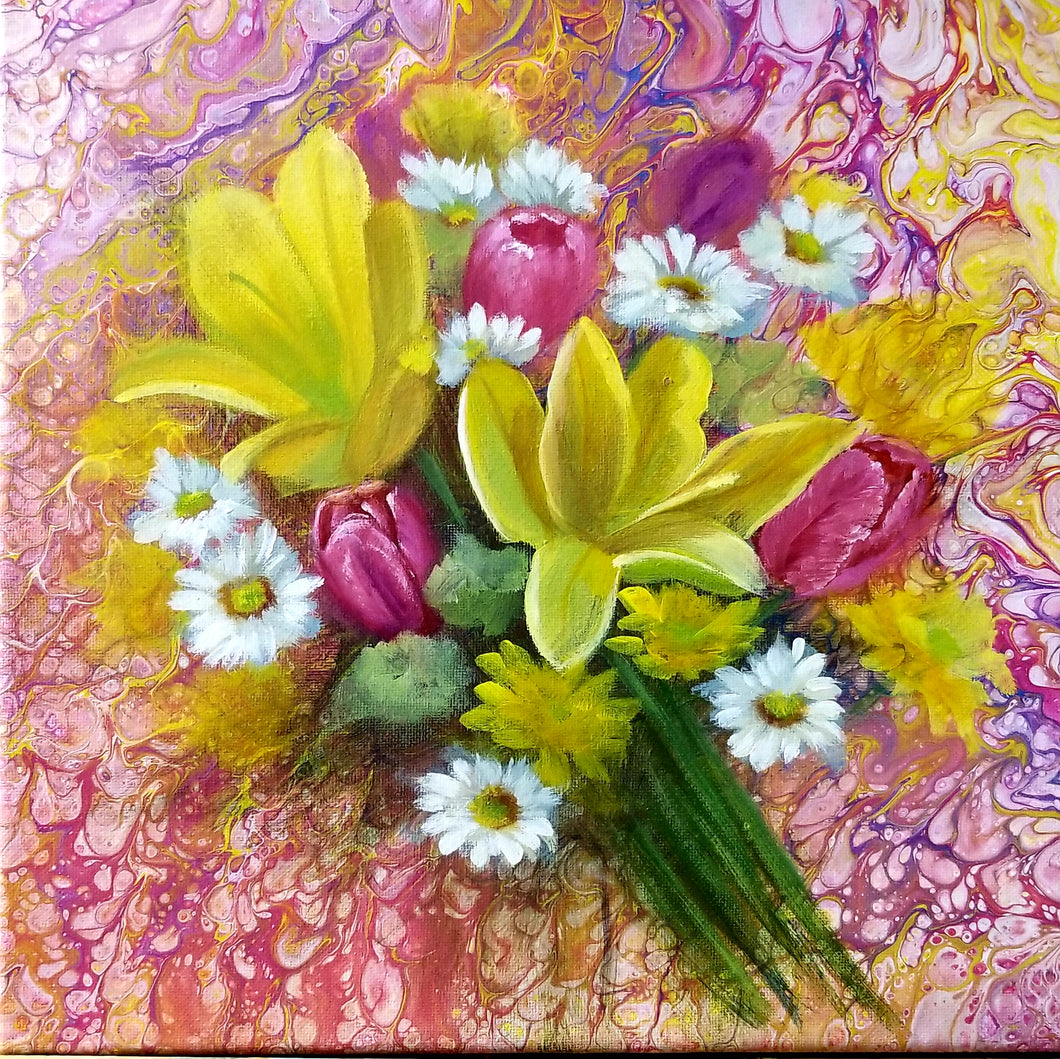 Poured Acrylic Pink and Yellow Bouquet