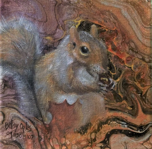 Poured Acrylic Background with Squirrel Eating an Acorn