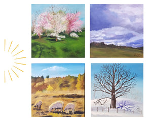 Set of 4  6 x 6 Landscapes