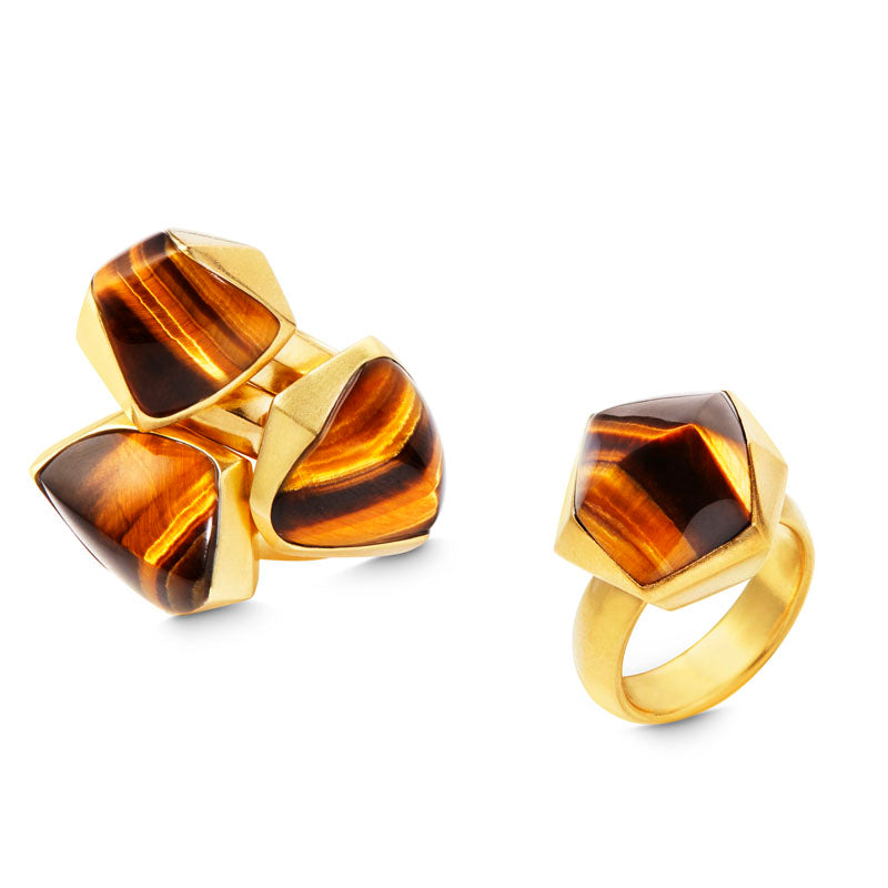 Katherine Jetter PYRAMID TIGER'S EYE STACKED RING
