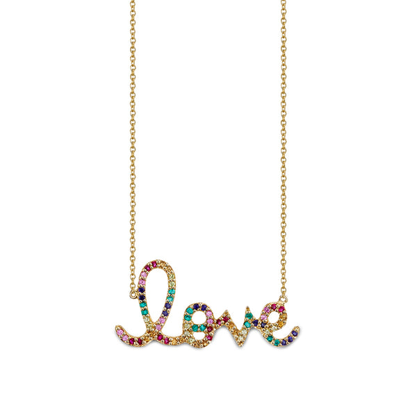 Large Rainbow Love Script Necklace