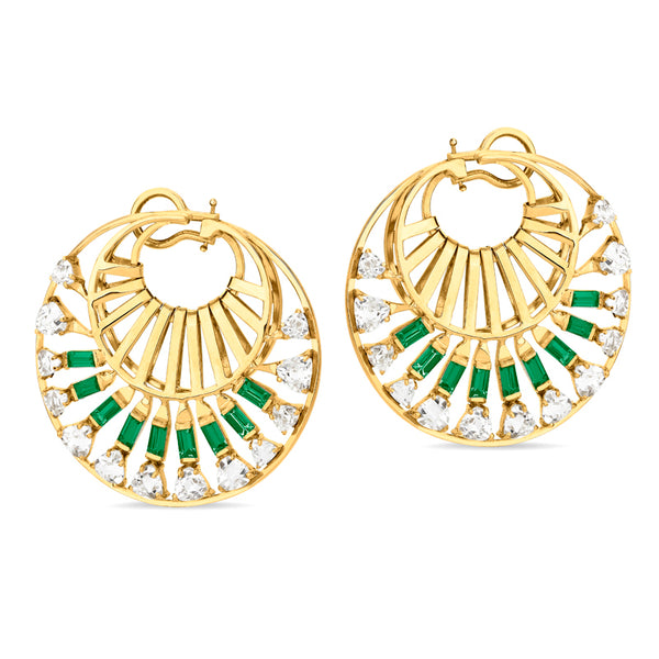 Trapeze Twisted Emerald Earrings