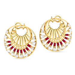 Trapeze Twisted Ruby Earrings