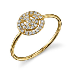 Pavé Diamond Happy Face Ring