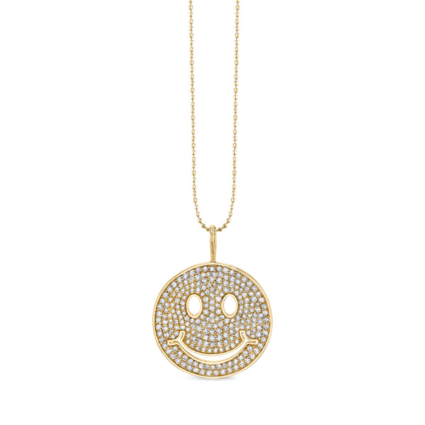 Large Pavé Diamond Happy Face Charm Necklace
