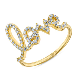 Large Pavé Diamond Love Script Ring