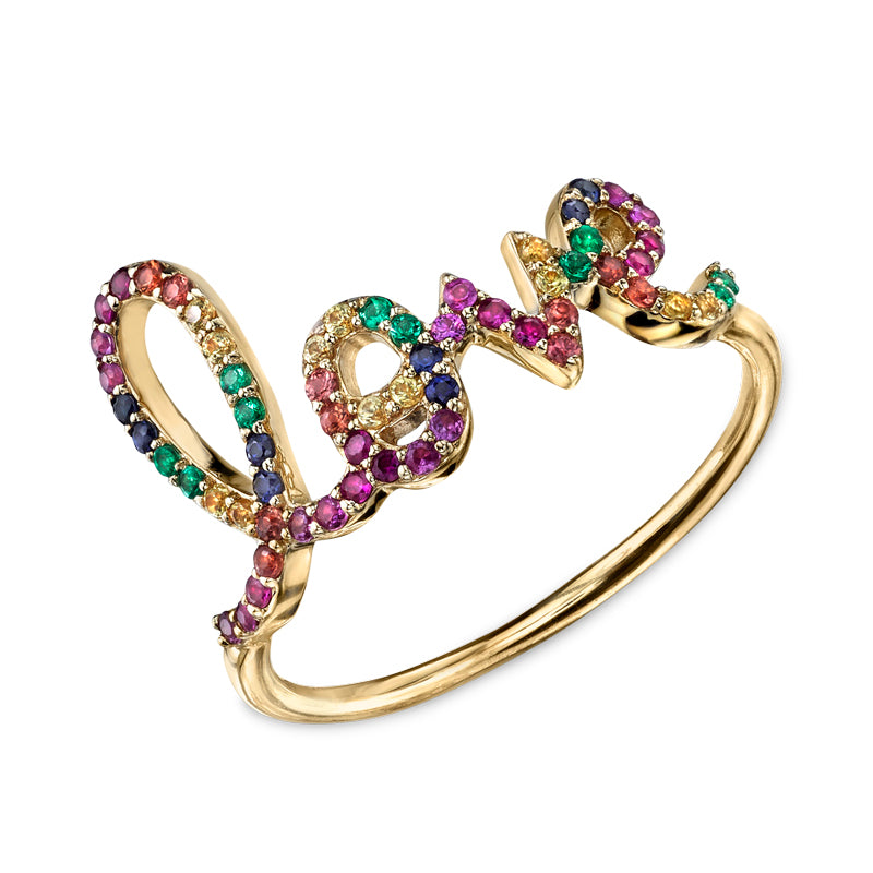 Large Pavé Rainbow Love Script Ring
