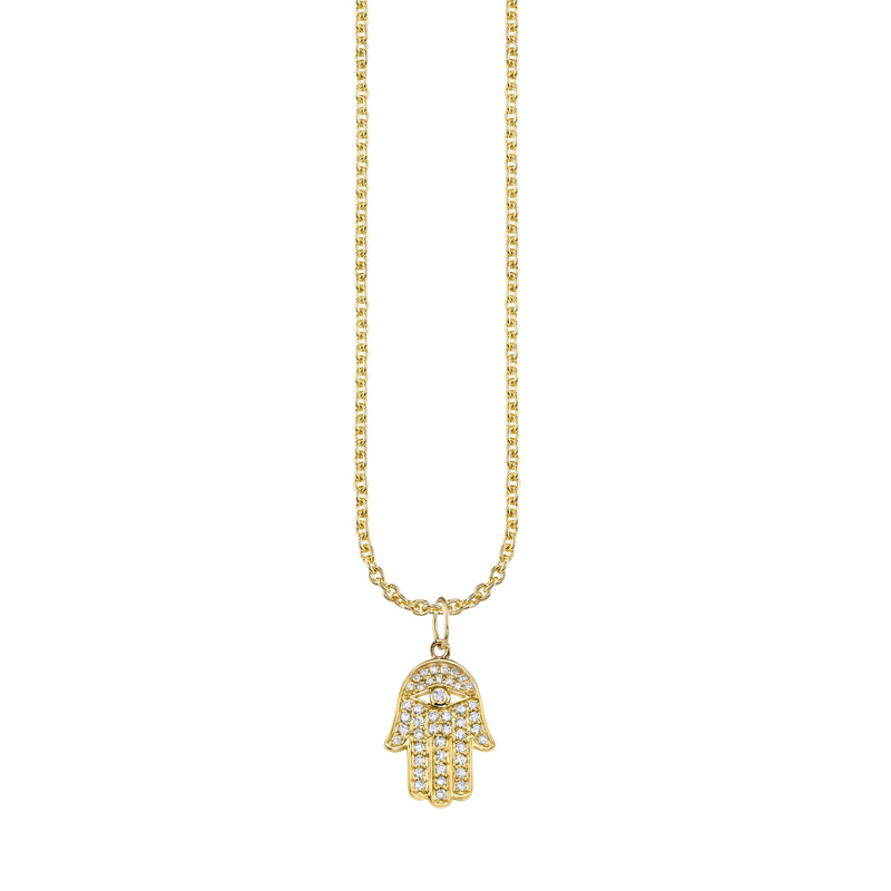 Medium Diamond Hamsa Charm Necklace