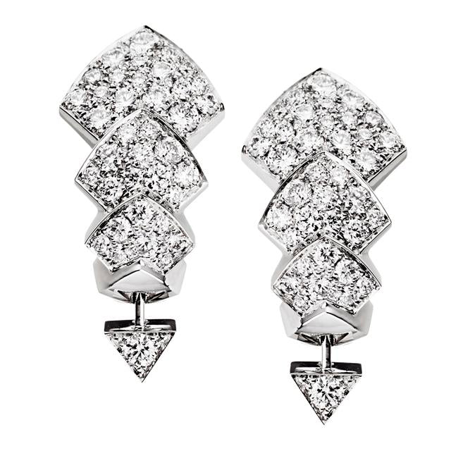 White Gold & Diamond Python Earrings
