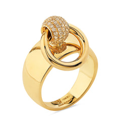 Medium Gold & Diamond Pav̩e Sado-Chic O-Ring