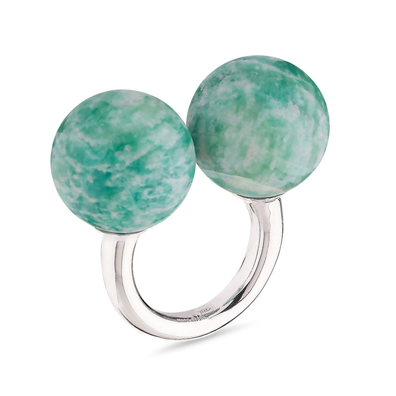 Double Sphere Healing Massage Ring in Amazonite