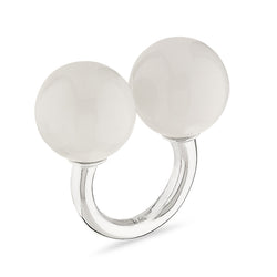 Double Sphere Healing Massage Ring in White Marble