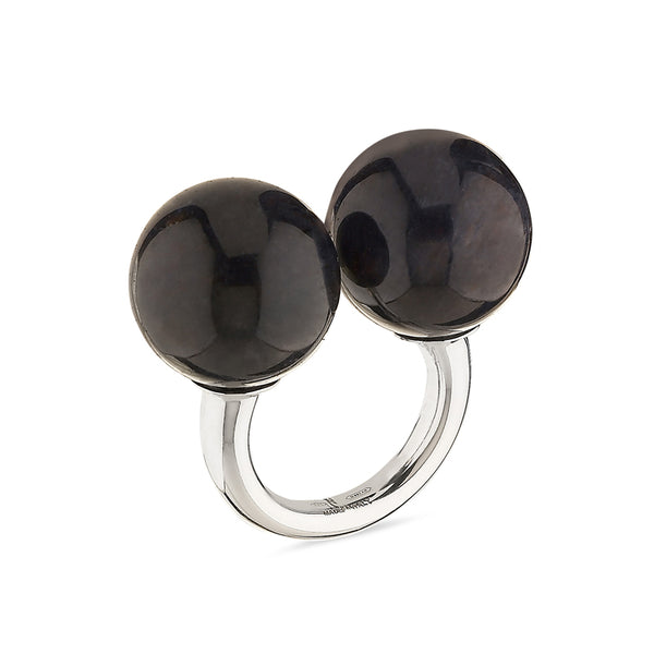 Double Sphere Healing Massage Ring in Onyx