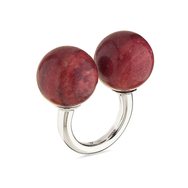 Double Sphere Healing Massage Ring in Thulite