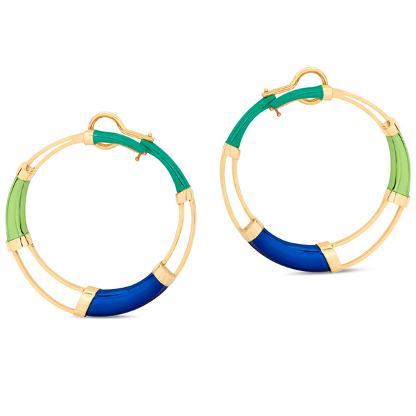 Multi Color Hoop Earrings Green
