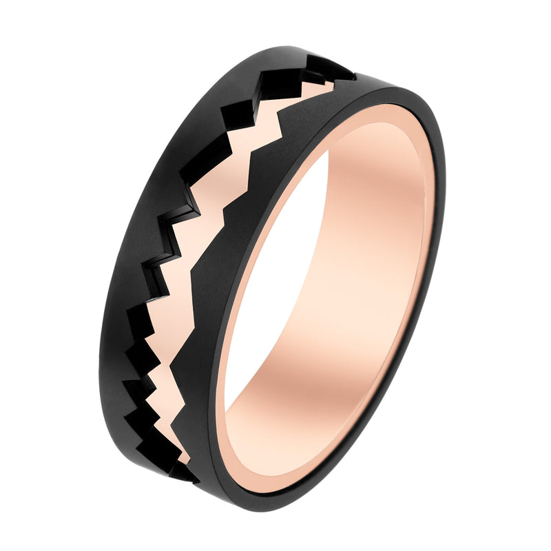 Black Titanium & Rose Gold Capture In Motion Rolling Ring