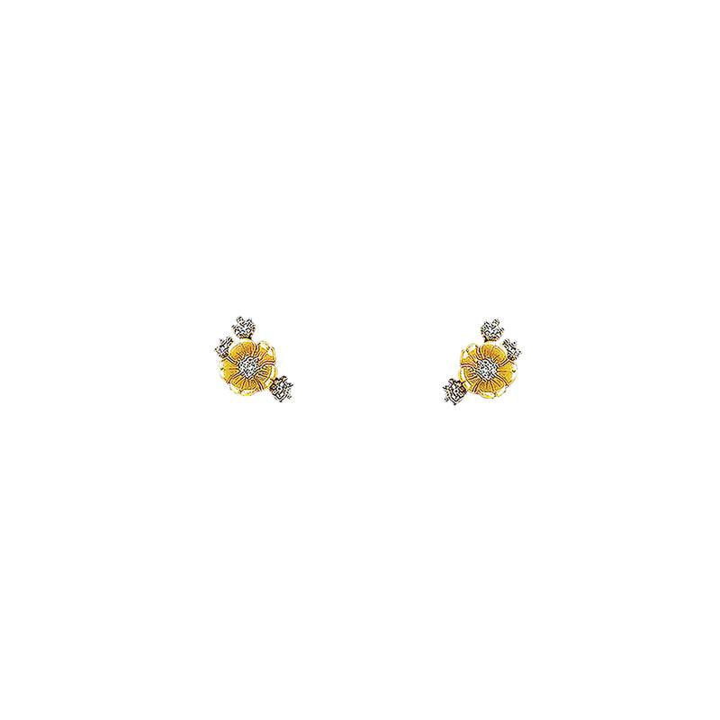 Lab-Grown Petite Gold Floral Studs