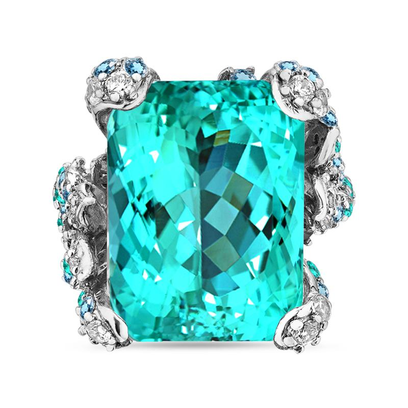 Lab-Grown Paraiba Ocean Ring