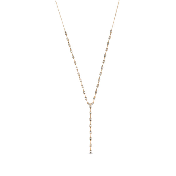 Baguette Diamond & 18K Yellow Gold Lariat Necklace