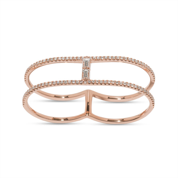 Baguette Diamond Two Finger Ring
