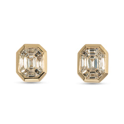 Illusion Small Diamond Stud Earrings