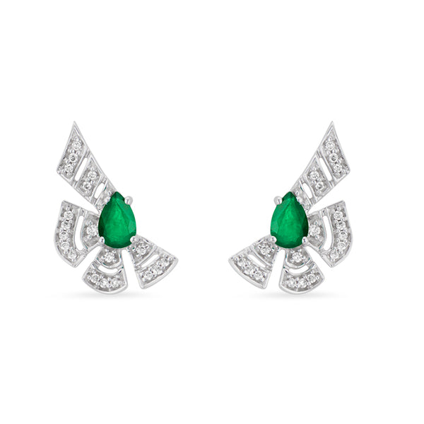 Labyrinth Emerald Stud Earring