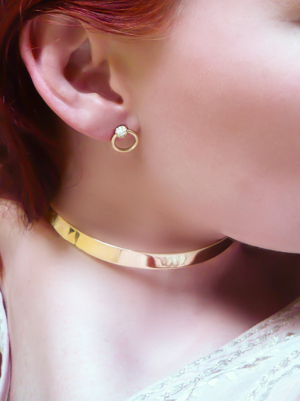 Mini Gold & Diamond Pav̩e Sado-Chic Earrings