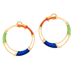 Multi Color Hoop Earrings Orange