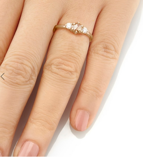 Champagne Rose Cut Diamond Tidals Ring