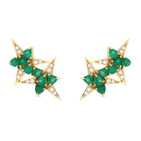 Galactic Star Emerald Earrings