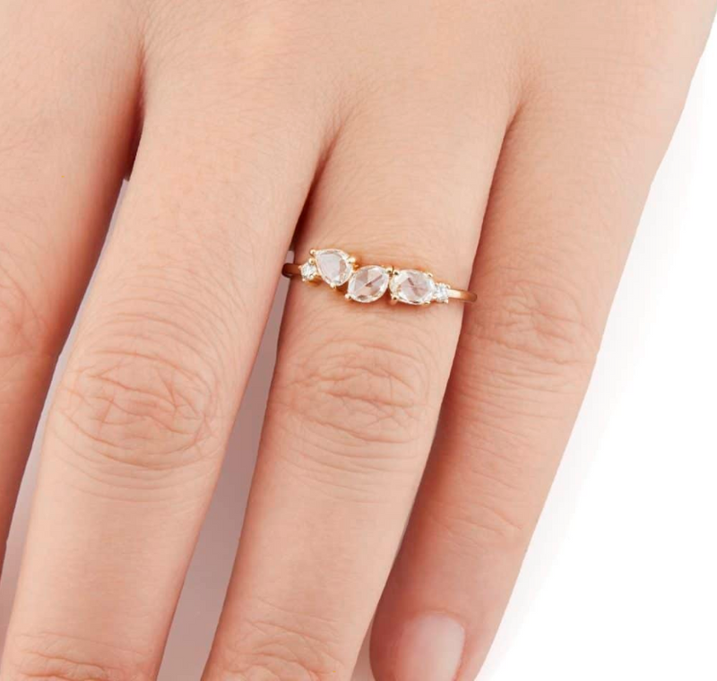 White Rose Cut Diamond Cosmos Ring